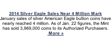 2014 Silver Eagle Sales Near 4 Million Mark  January sales of silver American Eagle bullion coins have nearly reached 4 million. As of Jan. 22 figures, the Mint has sold 3,969,000 coins to its Authorized Purchasers.  More »